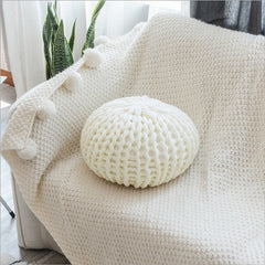 Chunky Hand Knitted Small Pouf