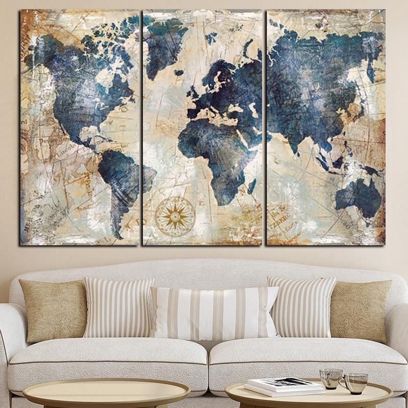 3 Panel Blue World Map Painting Posters