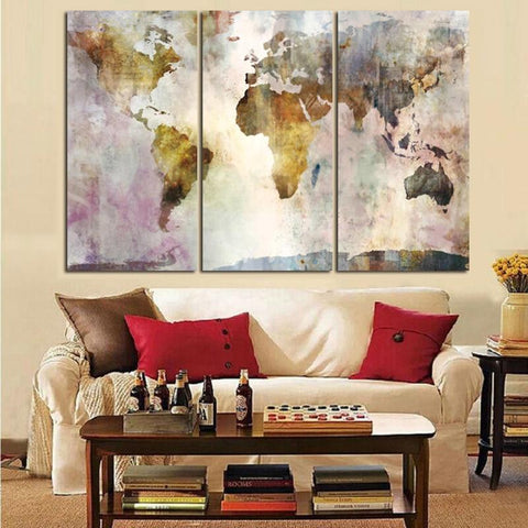 3 Panel Vintage World Map Painting Posters