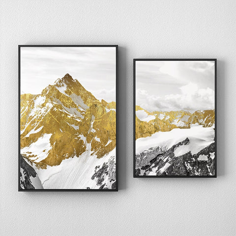 Golden Mountain Peak Wall Art