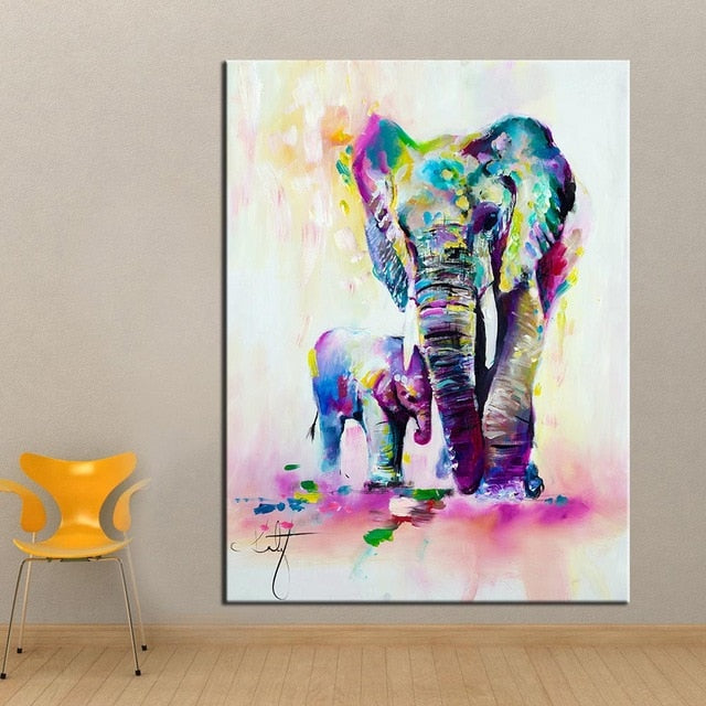 Fantasy Elephant with Mom Wall Art