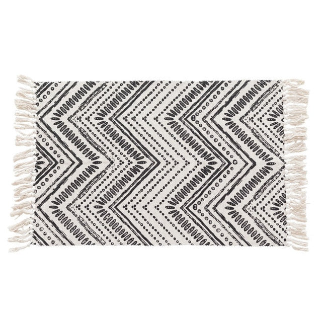 Handwoven Grey & White Cotton Rug
