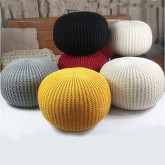 Solid Chunky Knitted Pouf