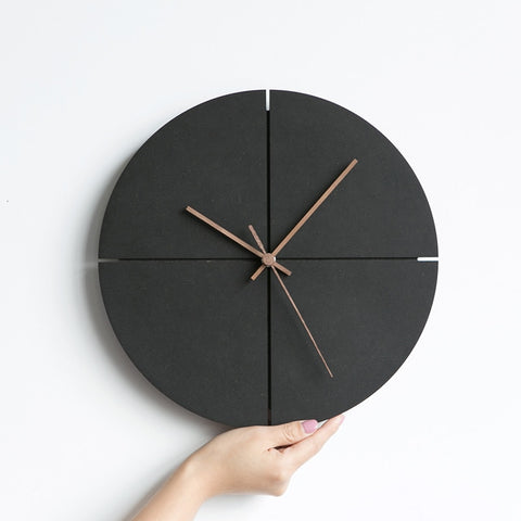 Black Nordic Wood Wall Clock
