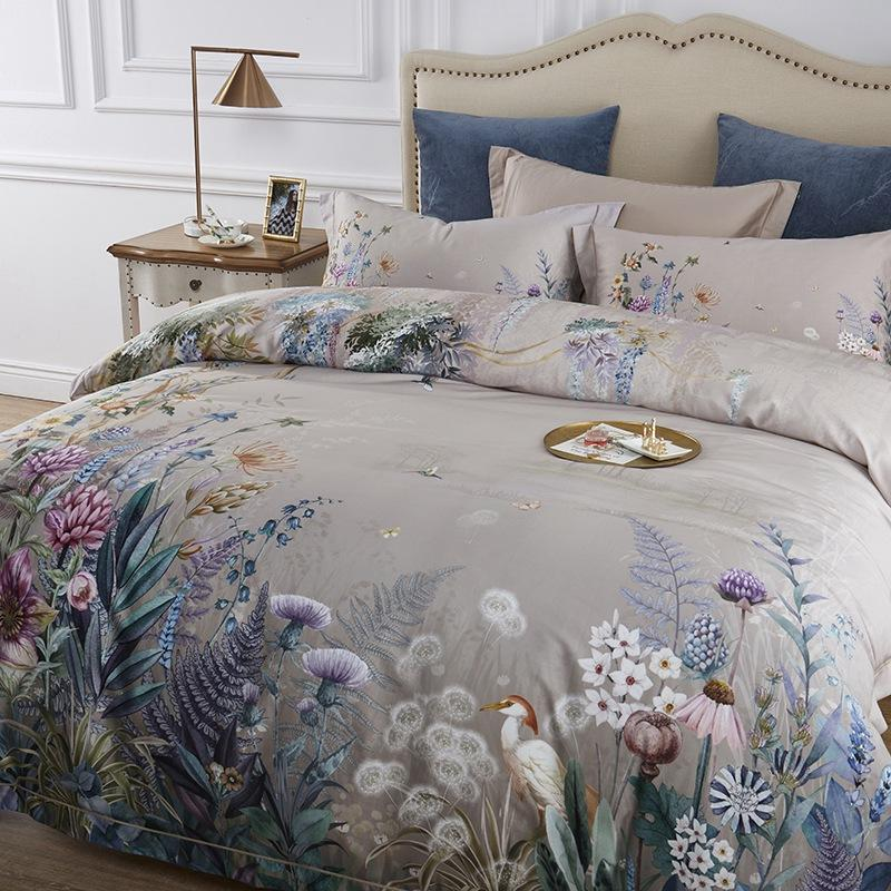 Floral Pastoral Grey Duvet Cover Bedding 4 Piece Set