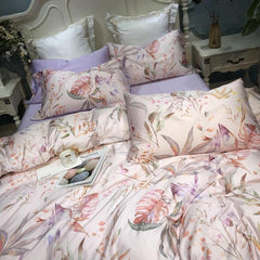 Floral Rustic Duvet Cover Bedding 4 Piece Set