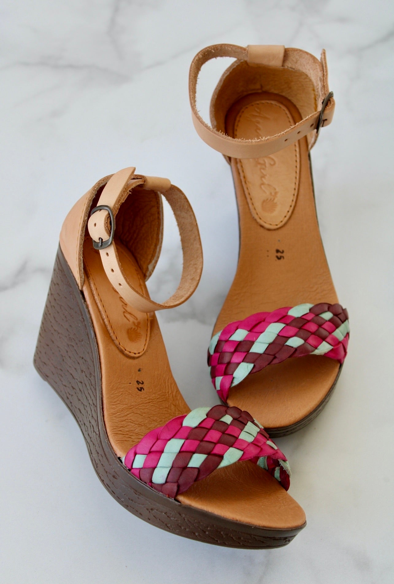 Verano Wedges - Mint & Pink