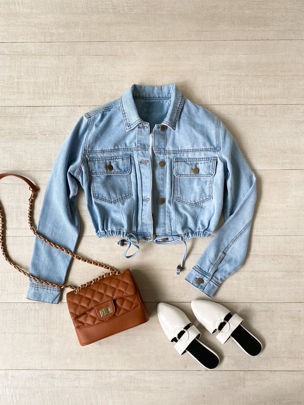 Drawstring Denim Jacket