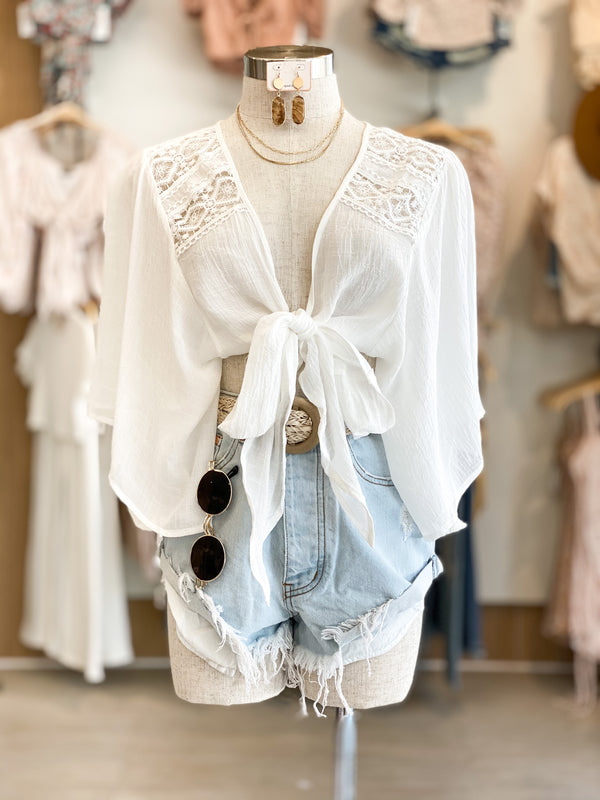 Lace Trim Tie Top