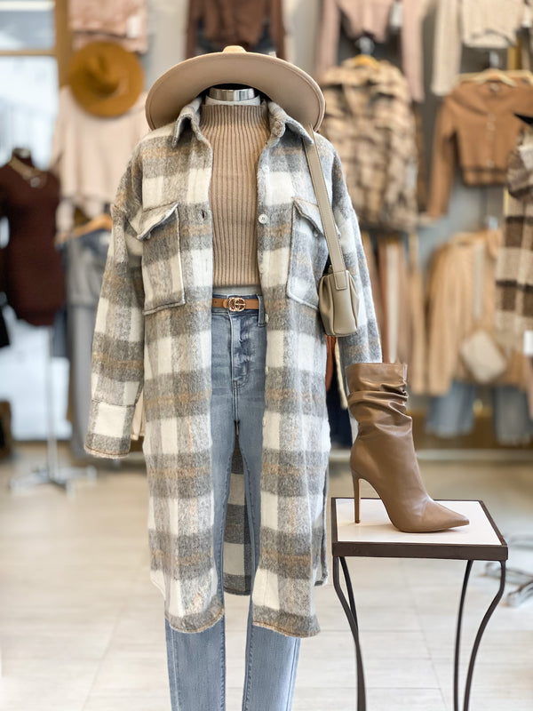 Long Plaid Shacket