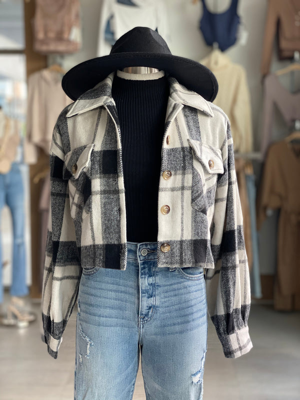 Plaid Crop Shacket