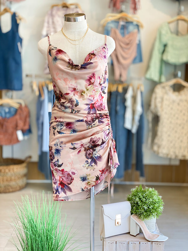 Side Gather Floral Dress