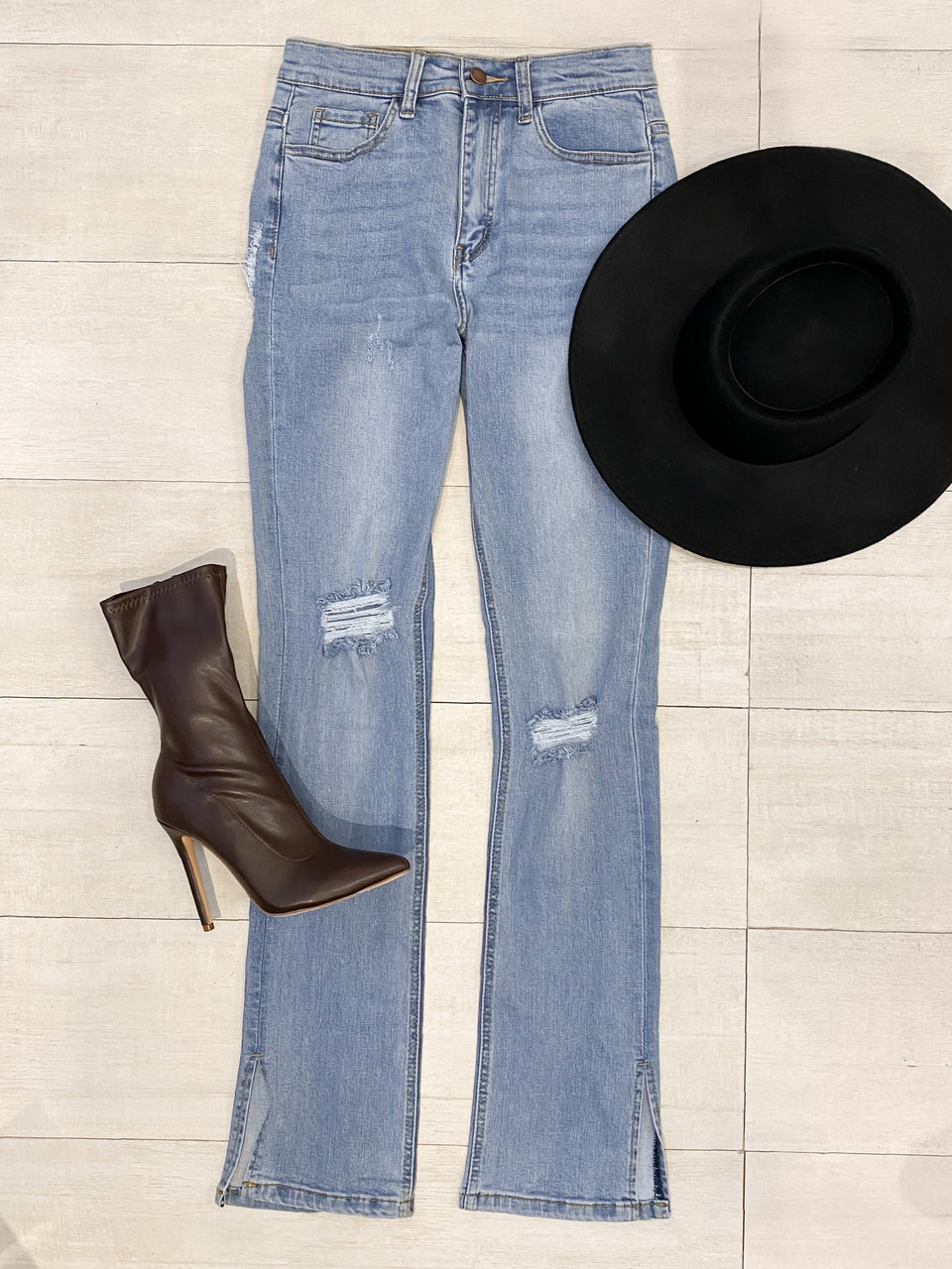 Side Slit Denim Jeans