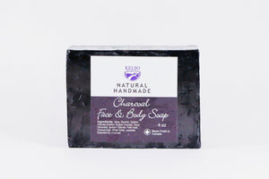Kelso Lavender, Face and Body Soap, Charcoal and Lavender, 4oz, Wrapped