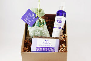 Kelso Lavender, Lavender Essentials Gift Box with Sachet, Hydrosol, and Lavender Soap