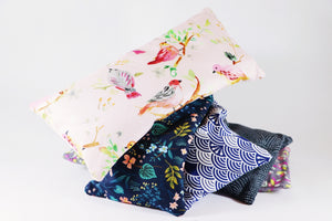 Kelso Lavender, Lavender Eye Pillows, Pink Birds, Peaceful Flowers, Blue Waves, Black Crests, Petal Patterns, 250g, Stacked
