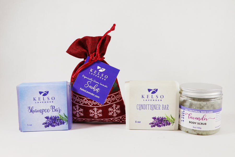 Kelso Lavender, Holiday Gift Box with Conditioner Bar, Shampoo Bar, Holiday Sachet, and Body Scrub