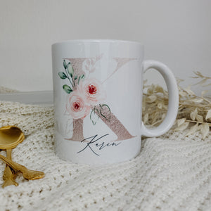 "Tasse INITIAL + WUNSCHNAME ""peach flowers 