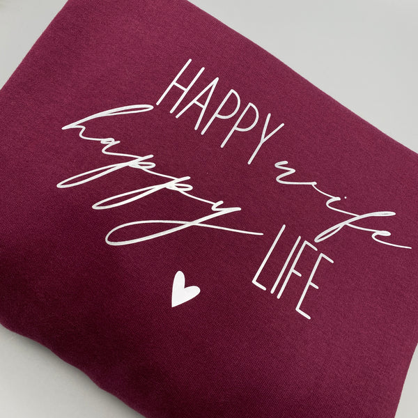 Hoodie HAPPY WIFE HAPPY LIFE weinrot