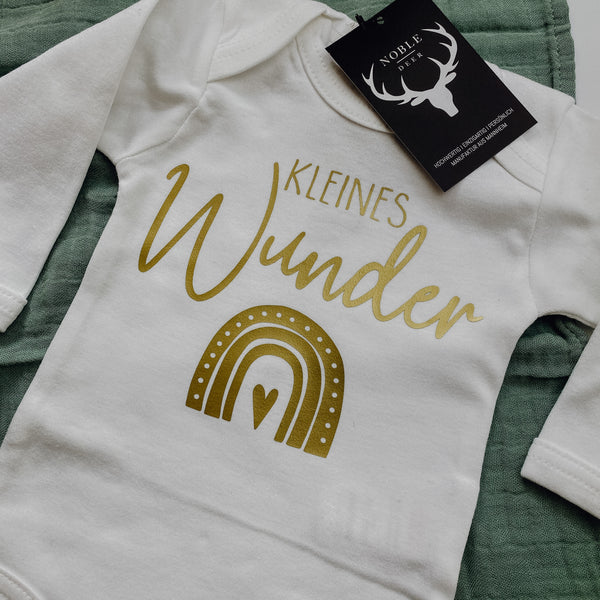 Baby-Body langarm KLEINES WUNDER (individuell)