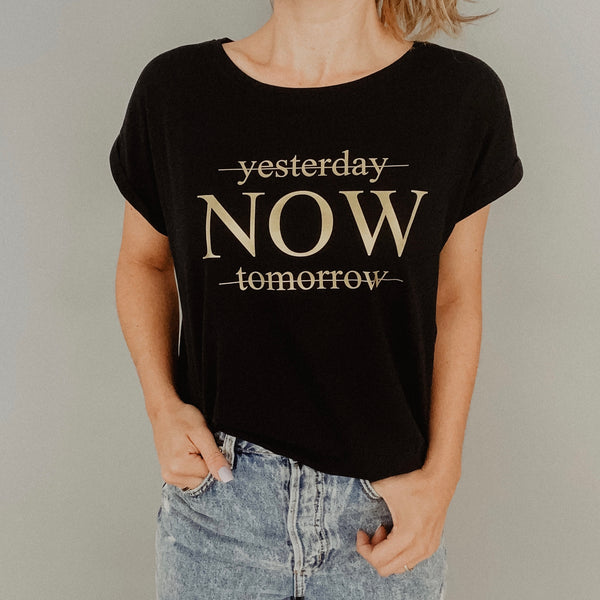 Damen T-Shirt leger YESTERDAY/NOW/TOMORROW (individuell)