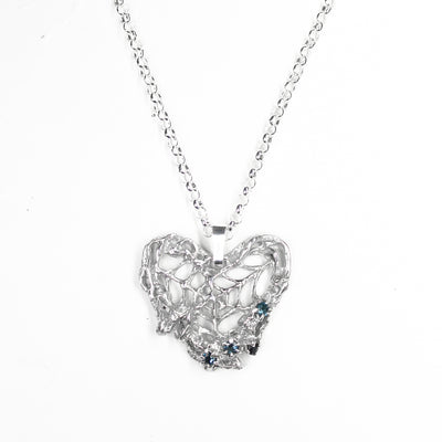 Blue Webbed Heart Necklace