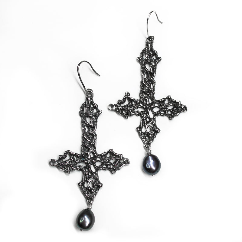 Lady of Sorrows Crucifix Pearl Drop Earrings