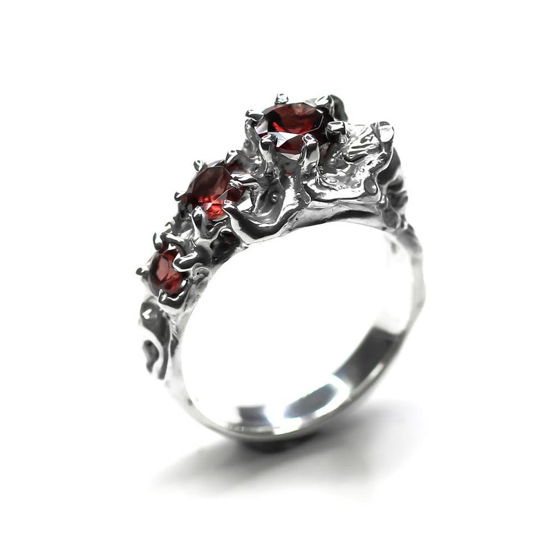 Red Memento Mori Flower Ring