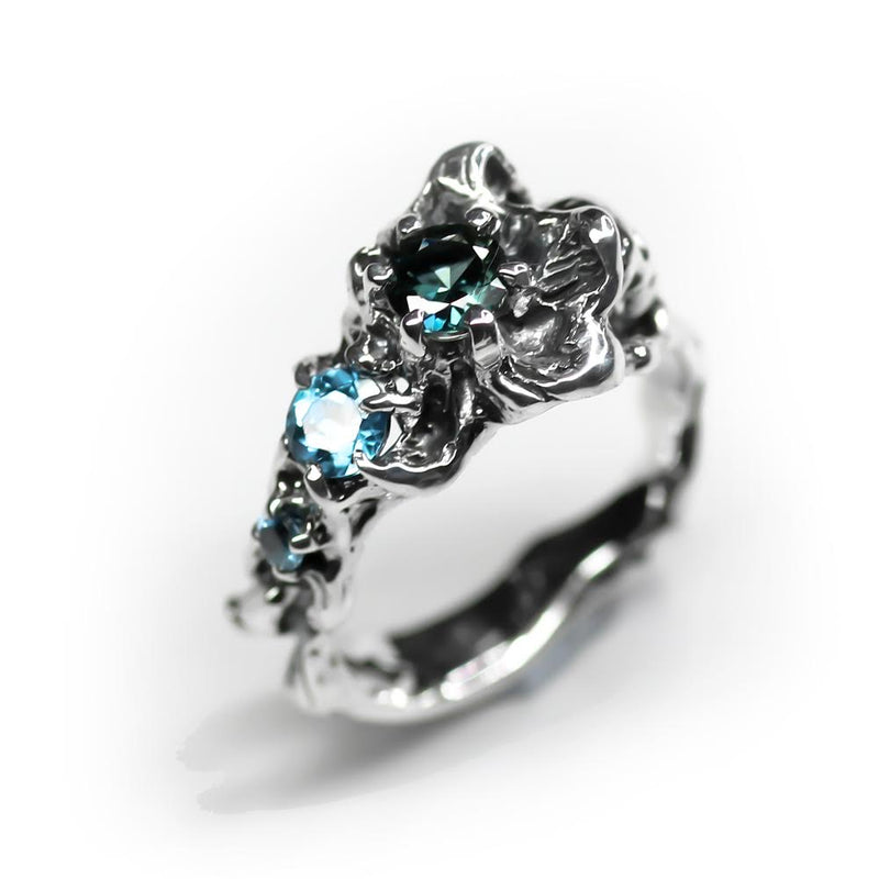 Blue Memento Mori Flower Ring