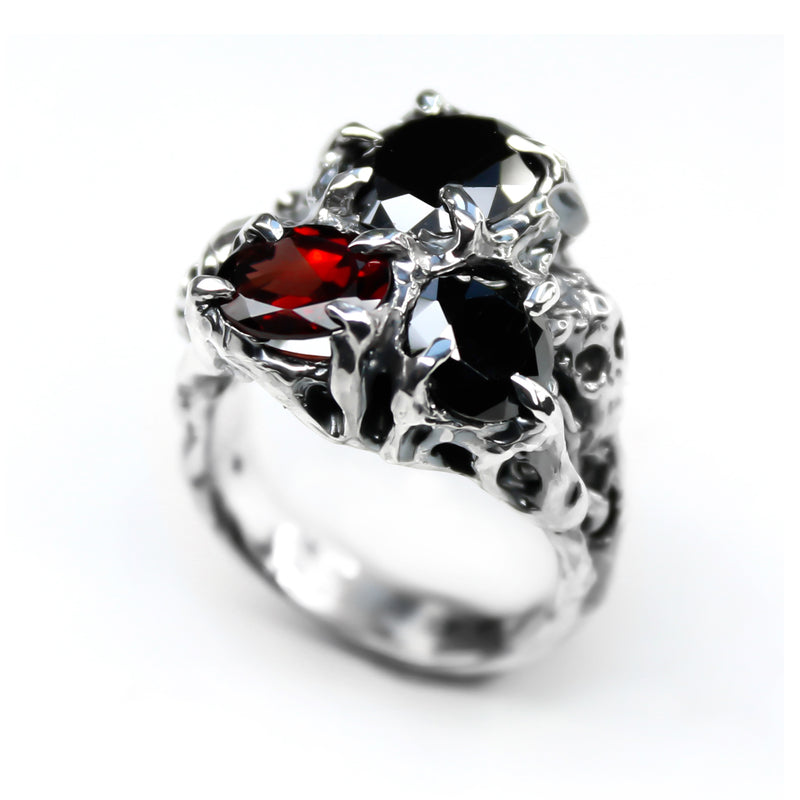 Red & Black Memento Mori Ring