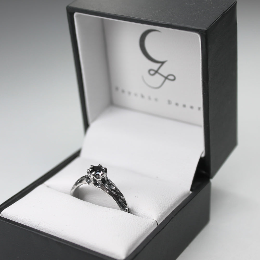 Black Saturnalia Solitaire Ring