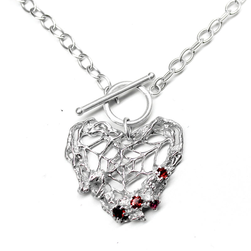 Webbed Heart Necklace with Garnets