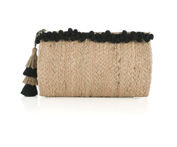 Tassle and Mini Poms Jute Clutch