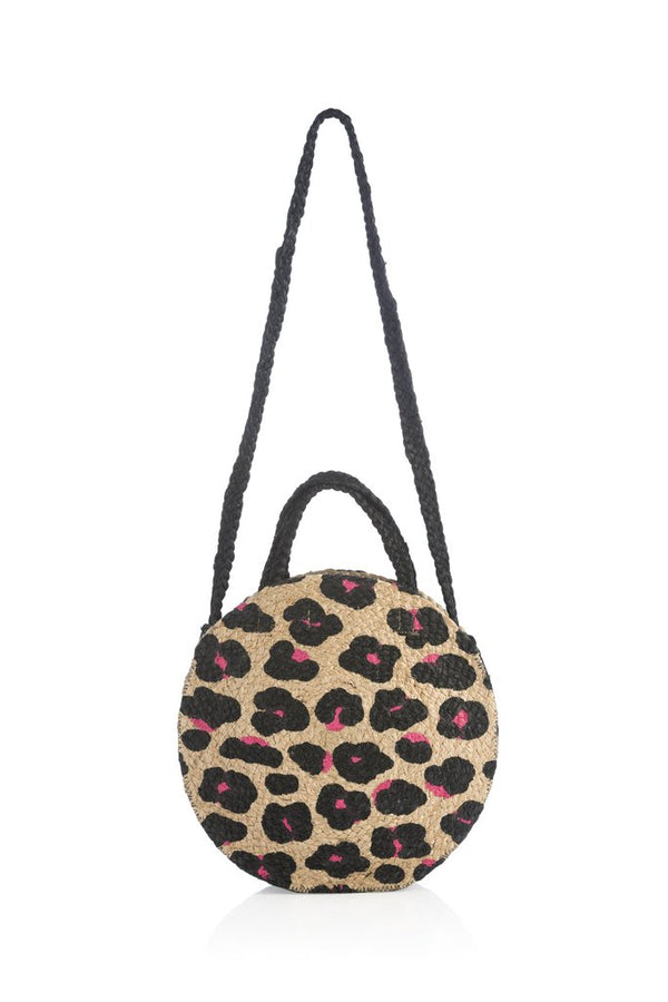 Leopard Jute Cross-Body Tote