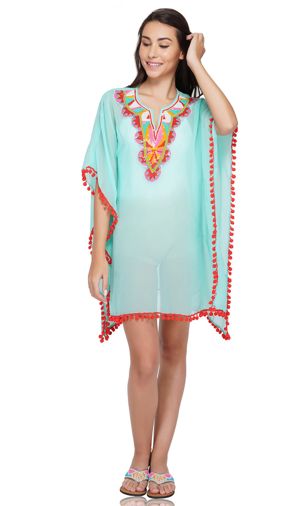 Aqua Green Embellished Kaftan with pom poms