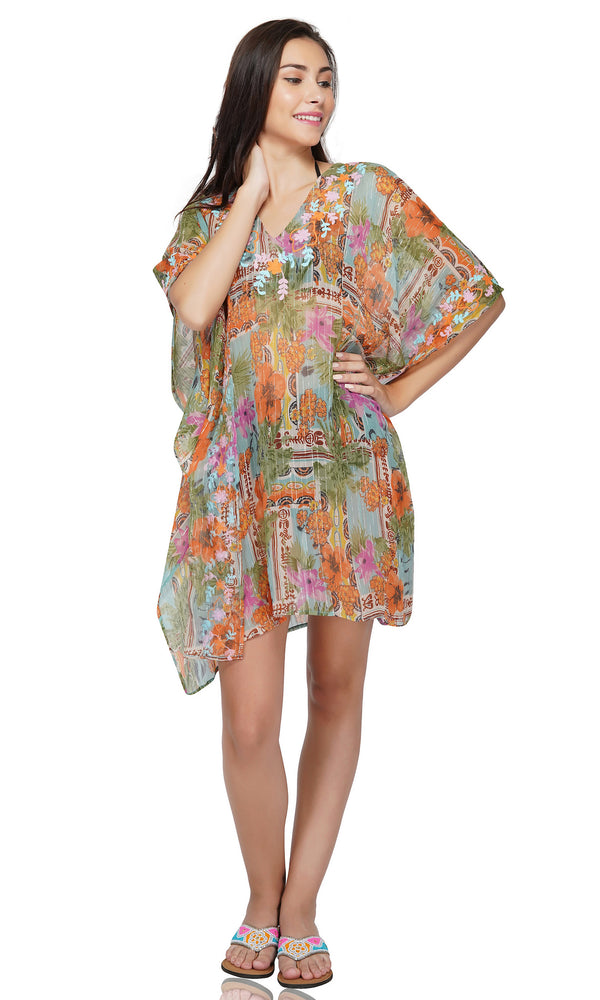 Pool Blue Floral Beach Embroidered Kaftan