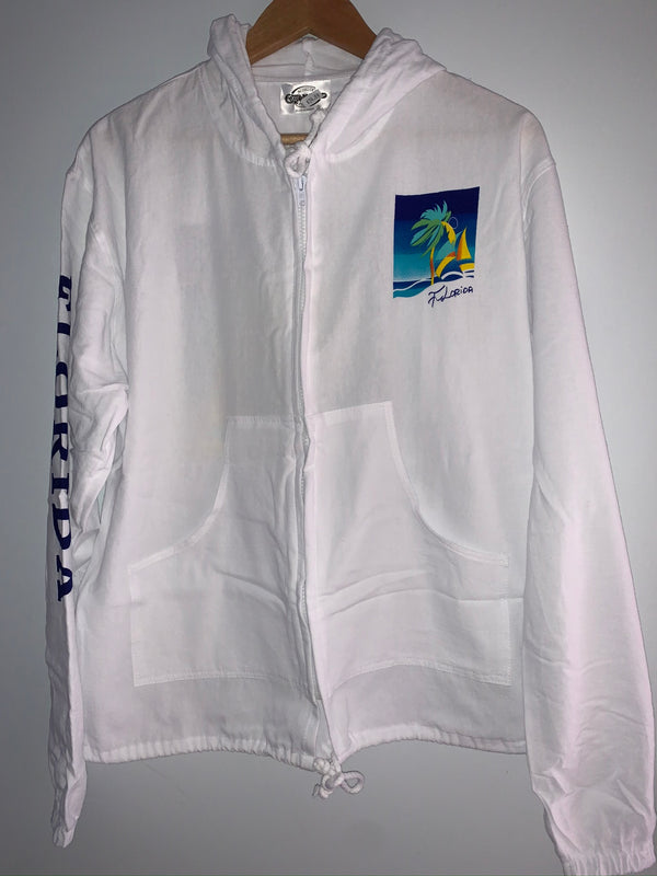 Cottonseed Zip Up Jacket Blue Yellow Palm Sailboat