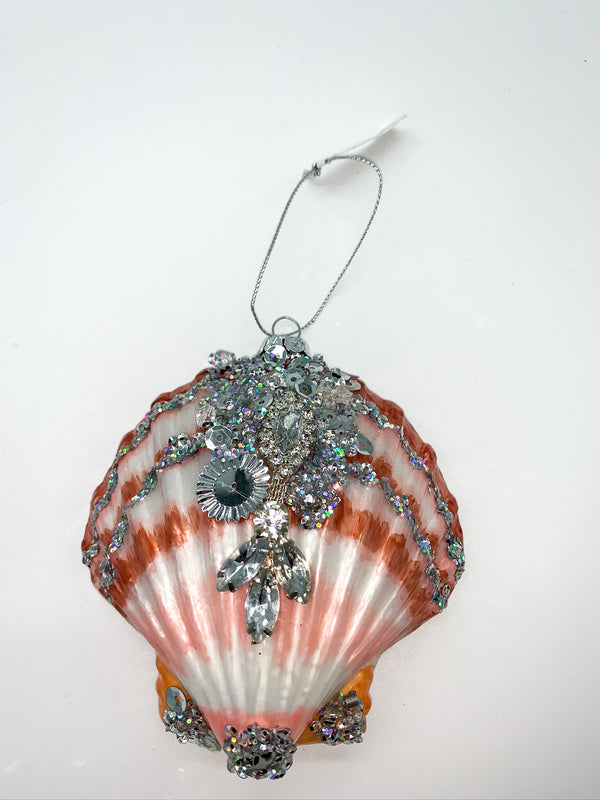 Glitterville Shell With Embellishments Ornament
