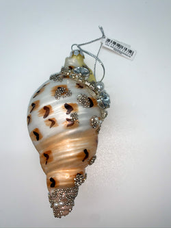 Glitterville Swirl Shell With Embellishments Ornament