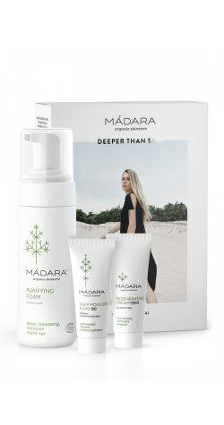 Madara Deeper Than Skin - aloituspakkaus (Purifying Foam 150 ml, Deet Moisture Fluid 25 ml, Regenerating Night Cream 25 ml) huom. pakkaus rutussa - tuote ehjä