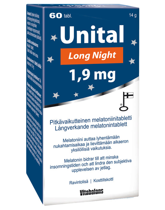 Vitabalans Unital Long Night 1,9 mg - Pitkävaikutteinen melatoniini 60 tabl.