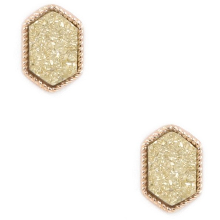 1062 Hexagon Druzy Studs