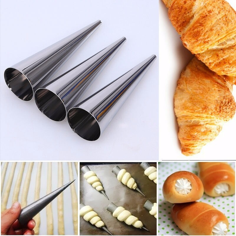 5pcs Stainless Steel Baking Cones Horns