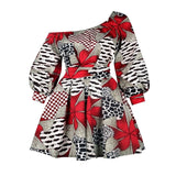 Women Blouse African Ethnic Color Block Print Plus Size Tops Leopard Sexy Modern Fashion Lantern Sleeve Spring Long Blouses Top