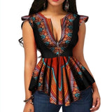 Summer Vintage Ethnic Elegant Red African Fashion Women Blouses Casual Black Girls Slim Print Retro 2019 Plus Size Chic Tops