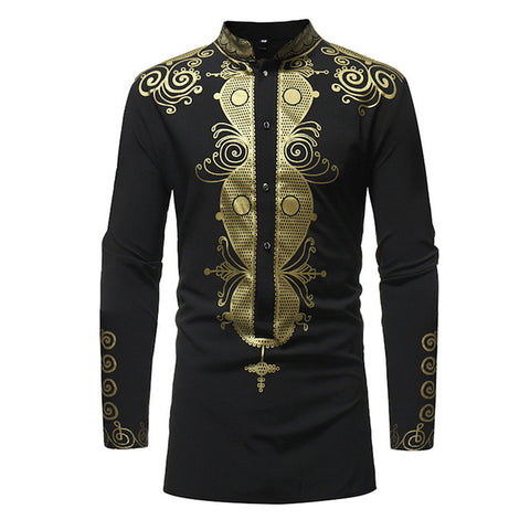 Vintage Men Shirts African Ethnic Print Long Sleeve Heigh Quality Stand Collar Shirts 2019 Autumn Male Shirt Tops For Men