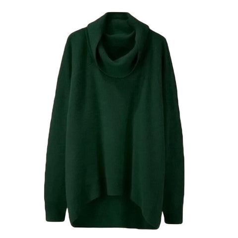 Women Oversized Sweaters Winter Irregular Knitted Pullovers Coats Long Sleeve Turtleneck Jumper Lady Loose Tops Sexy Knitwear