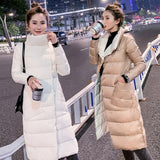 Double Sided Women's Down Jacket Long Winter Turtleneck White Duck Down Coat Female Double Breasted Plus size Warm Plaid Parkas