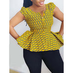 V-Neck Blouse African Fashion Geometric Standard Short Sleeve Vintage Ethnic Elegant Zipper Plus Size Chic Ruffles Tops