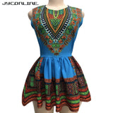 JYConline African Print Blouse Women Tops O Neck Sleeveless Summer Tops Shirts Elegant Slim Waist Ruffle Blouses Blacks Folk Top